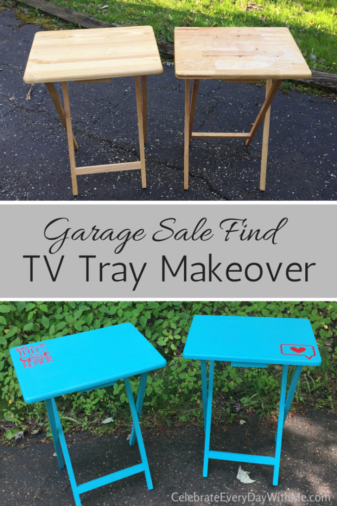 Garage Sale Find - TV Tray Makeover