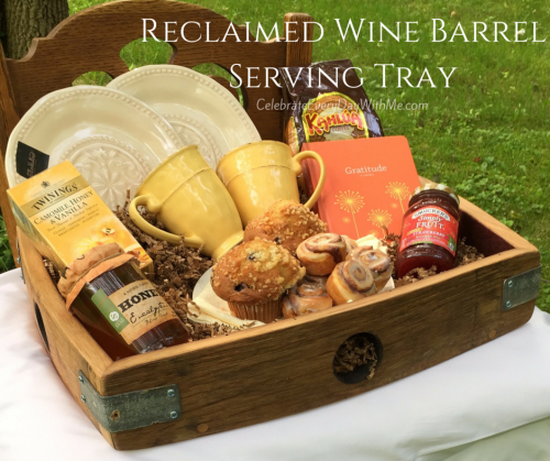 Reclaimed Wine Barrel Serving Tray - Memorable Gift for Anniversary or Wedding