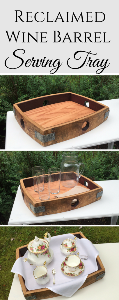 Reclaimed Wine Barrel Wood Serving Tray - so many uses (1)