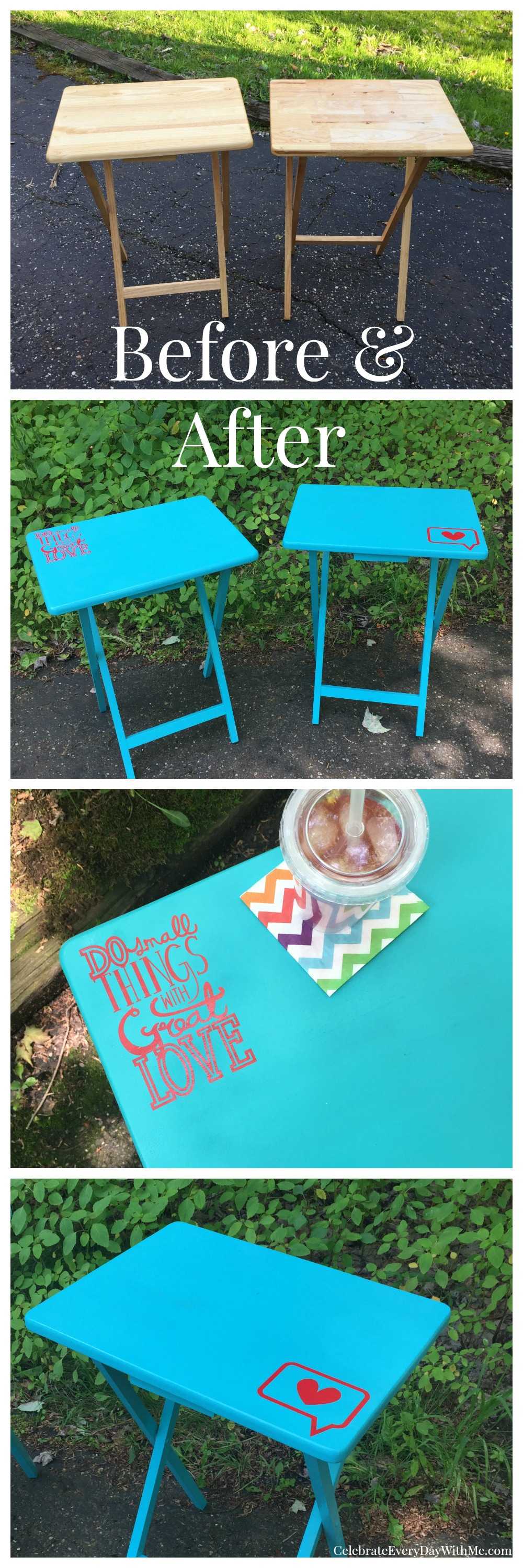 Great Garage Sale Finds Tv Tray Makeover Celebrate Every Day With Me