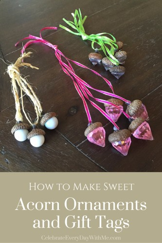 How to make sweet acorn ornaments and gift tags for How to make acorn ornaments