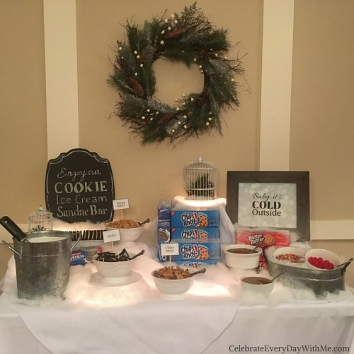 Winter Wonderland Party featuring a Cookie - Ice Cream Sundae Bar 7