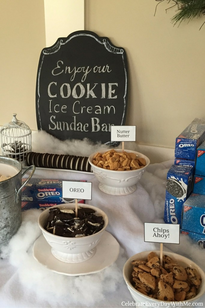 Winter Wonderland Party with Cookie Ice Cream Sundae Bar 7