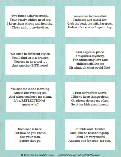 picture regarding Printable Riddles With Answers identified as Rhyming Riddle Scavenger Hunt for Your Small children Cost-free Printable