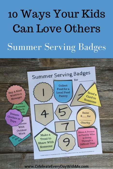 Summer Serving Badges - 10 Ways Your Kids Can Love Others