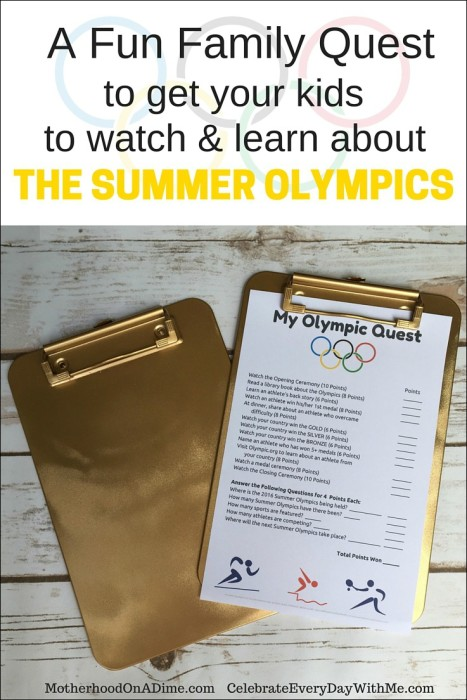 A Fun Family Quest to get your kids to watch and learn about the summer olympics