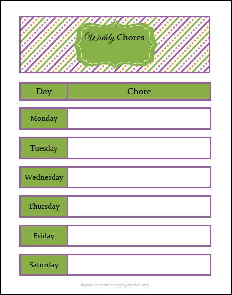 Free Printable Weekly Chore Chart From An Optimistic Organizer
